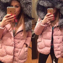 Winter Women Jackets Fashion Big Fur Hoody Warm Outer Wear Clothing Down Cotton Jacket Short Tops Plus Size Parka Dc24 Z25