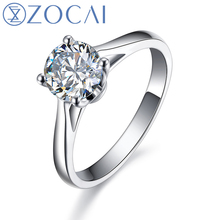 ZOCAI Real 0.5 CT Certified H/SI Round Cut Diamond Engagement Women Ring 18K White Gold (AU750) W03020(China)