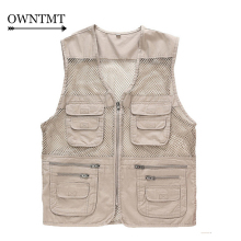 Summer Men's Mesh Vests Multi-pockets Director Reporter Vests Quick Dry Sleeveless Jacket Photography Cameraman Travels Clothing