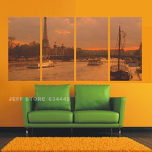 Hand Paint Canvas Art Work Home Decorative Landscape Wall Painting 4 Group Harbor Picture For Pictures Living Room