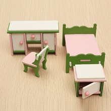 4Pcs Miniature Doll House Bedroom Wooden Furniture Ornament Set Kids Role Pretend Play Toy Decor Crafts Children Gifts