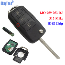 OkeyTech 3 Buttons 315MHz Car Remote Control Completed Flip Key Fob Blank Blade With ID48 Chip For VW /SKODA SEAT 1JO 959 753 DJ