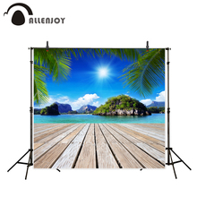 Allenjoy Natural Scenery theme background outdoor island summer wooden floor vacational photo photographic camera backdrop vinyl