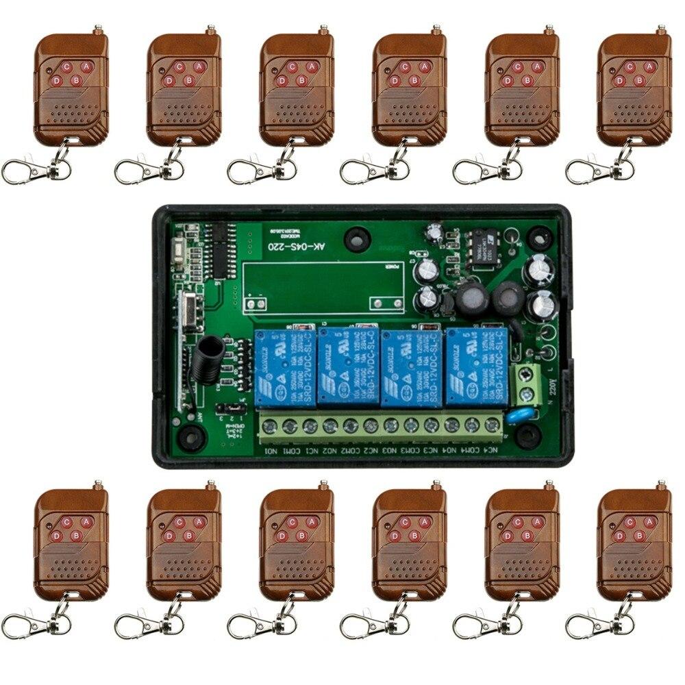 AC85V 110V 220V 240V 250V 4CH RF Wireless Remote Control Relay Switch Security System 1 x Receiver &amp; 12 x Transmitter 315/433MHZ<br>