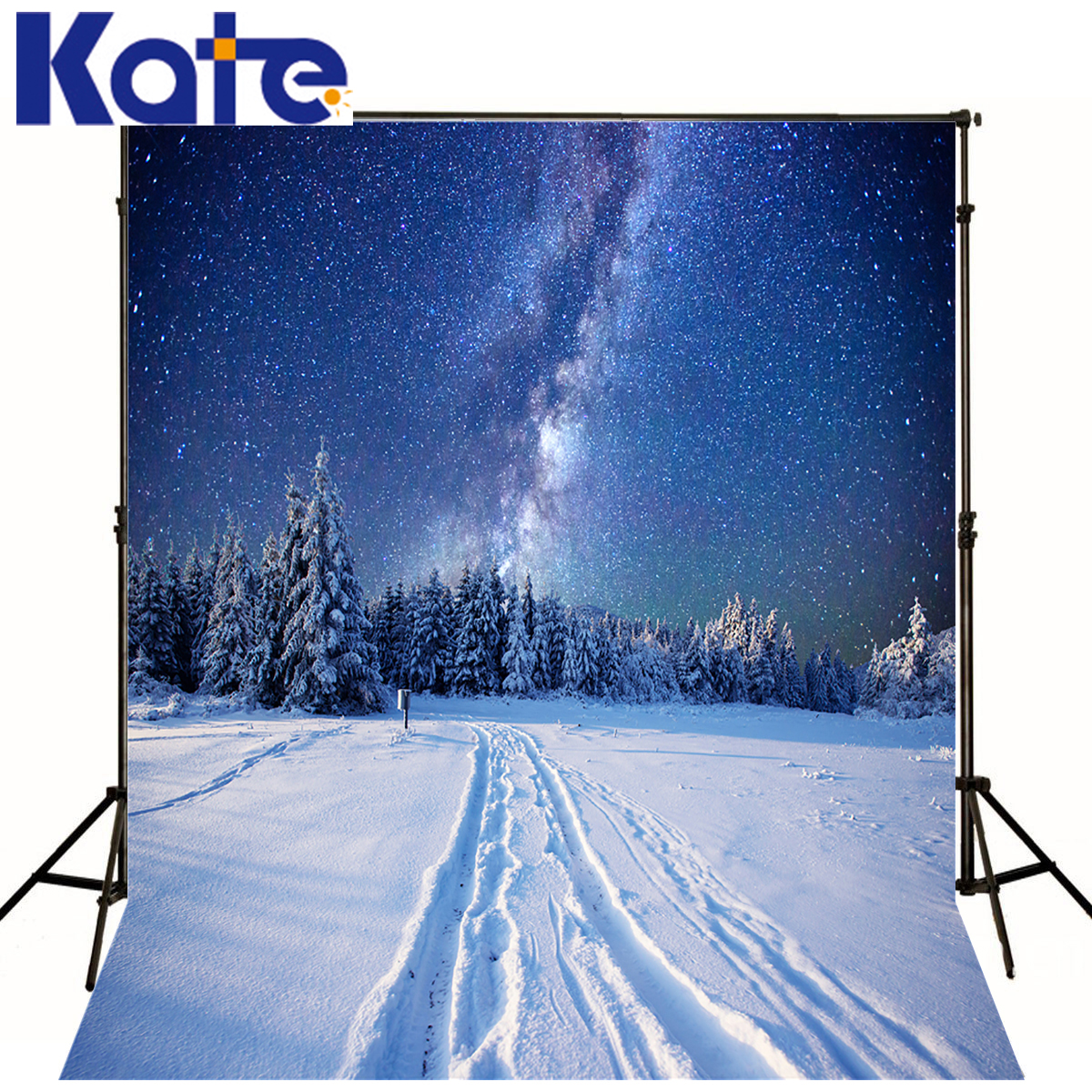 KATE Winter Backgrounds Photography Starry Sky Photo Studio Scenery Snow Forest Orbit Background For Children Photo Studio<br>