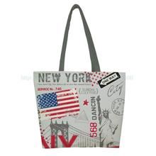 1 PC Fashion New York Style Print Custom Vintage reusable foldable Shopping Bag Oxford cloth handbag shoulder tote bags
