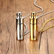 Vnox Locket Necklace Pendant Stainless Steel Can Open Class Inside Silver Gold Black(China)