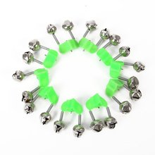 10 Pcs Fishing Bite Alarms Fishing Rod Bells Rod Clamp Tip Clip Bells Ring Green ABS Fishing Accessory(China)