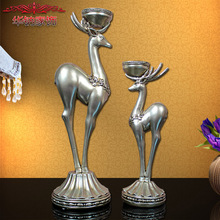 2016 Home Furnishing Products Decoration Accessories Resin Technology For Deer Candlestick Lovers Living Ornaments Wholesale(China)