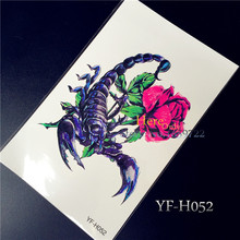 1PC 19*12cm Large Cool Blue Scorpion King 3D Flash Temporary Tattoo Sticker Waterproof YF-H052 High Quality Tatoo Body Art Rose(China)