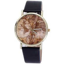 Hot Marketing relogi Fashion Women's World Map PU Leather Band Analog Quartz Wrist Watch Watches wholesale Jan11(China)