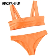 BEKOSHINE Solid Bikini Set Orange Swimwear Push Up Bikinis Swimsuit Plus Size BIKINIS Women 2017 Bandage Biquini Bathing Suit