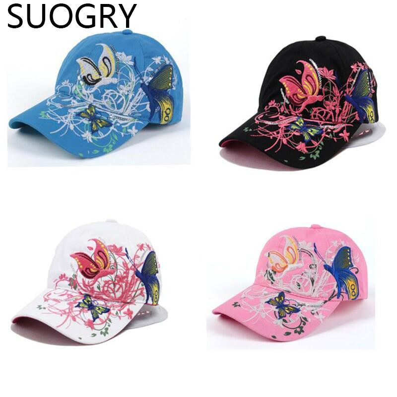 2014 spring and summer new butterfly embroidered colorful flowers female sun-shading baseball cap female hip-hop hat B308<br><br>Aliexpress