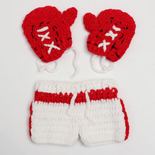 Baby Boy Boxer Photography Props New Hot Sale Crochet Handmade Knitted Kids Clothes Set Infant Boxing Gloves Shorts Outfits 1Set(China)