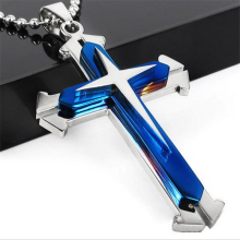 TOMTOSH 2016 Fashion Hot Sale High Quality Blue Black Silver 316l Stainless Steel Cross crystal Pendant Men's Necklace