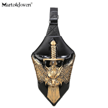 Steampunk Antique Color PU Leather 3D Sword Shape Crossbody Bags for Men Personalized Angel Sword Anime Character Messenger Bag(China)