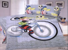 grey mickey mouse comforter bedding sets single twin size quilt duvet covers sheets cotton 400TC Children's boys bedroom decor(China)