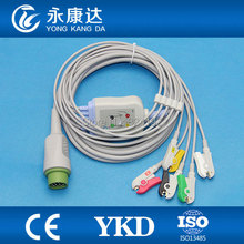 3pcs/pack Drager one piece five lead ECG cable with leadwire , Round 10 pin connector,IEC,Clip