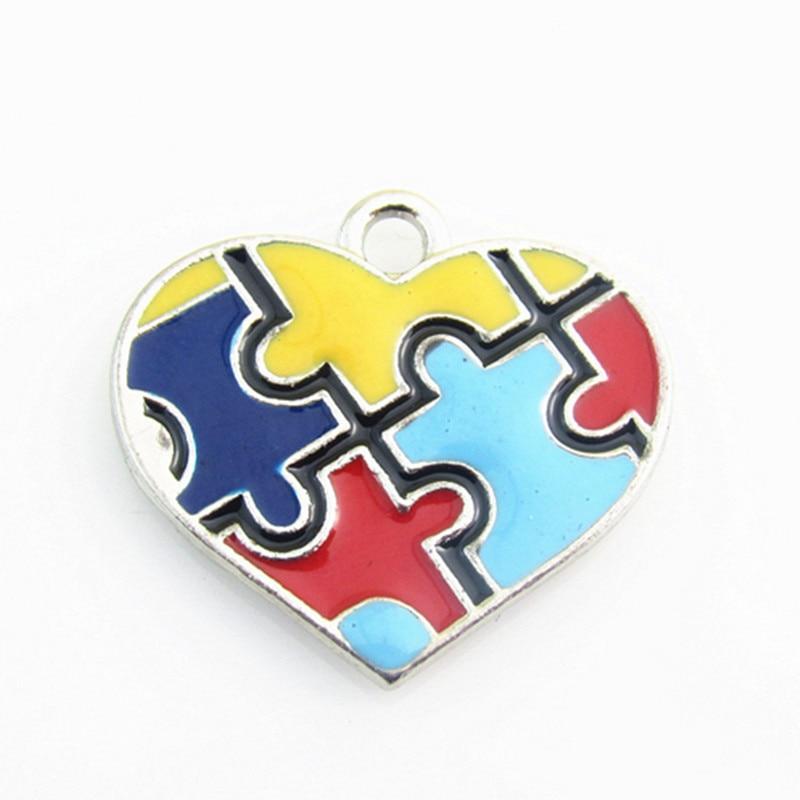 Autism Awareness Keepsake Key Charity Ribbon Charm Heart Beads Jigsaw Gift Boxed