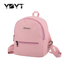 YBYT brand 2017 new small fashion solid letter rucksack high quality women shopping package ladies famous designer travel bag