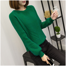 7745 real network models of twist Raglan rabbit hair knitted sweater -3 color arrow(China)