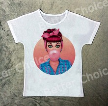 Track Ship+New Vintage Retro Fresh Hot T-shirt Top Tee Vintage Retro Red Hair Young Girl with Bubble in Mouth 0681