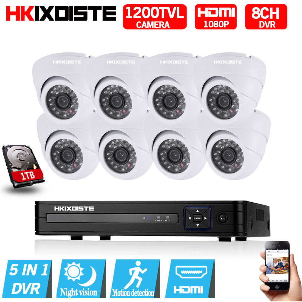 8CH AHD DVR 1080N Video Recorder H.264 Onvif Network Multilanguage 1200TVL CCTV Camera Night Vision For Surveillance System