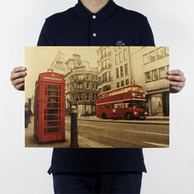 London Red Bus Street Posters Adornment Picture Vintage Poster Kraft Paper Decorative Painting Paper Posters Wall Sticker