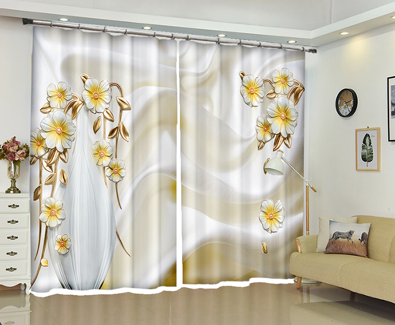 New 3D Artistic Flowers Blackout Curtains Healthy Non Pollution Digital Print Customizable Tablecloth Shower Curtain