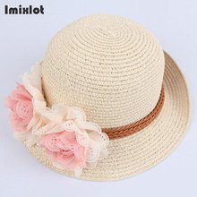 Imixlot Summer Kids Floral Straw Hats Fedora Hat Children Visor Beach Sun Baby Girls Sunhat Wide Brim Floppy Panama For Girls(China)