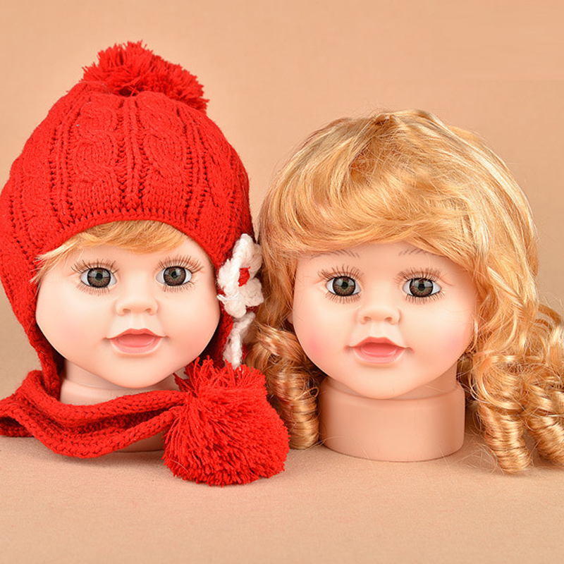 Children Mannequin Baby Dolls Head With Wig Shop Window Dolls Head For Cap Glasses Display (2)