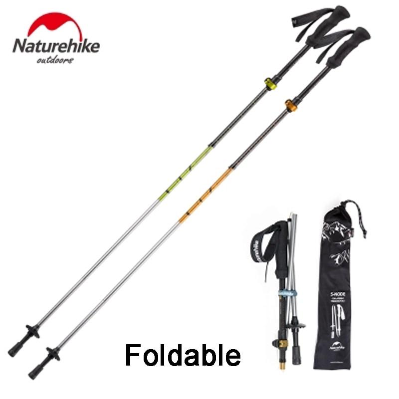 2Pcs NatureHike Ultralight Walking Sticks Mountaineering 5-section Carbon Fiber Cork Adjustable Trekking Poles Telescopic Hiking<br>