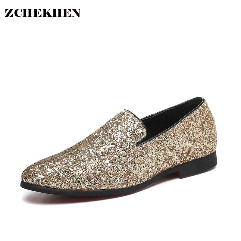 Europe bling Flat Leather Shoes Rhinestone Fashion Mens Loafer Dress Shoes Men Casual Diamond Pointed Toe Shoes gold silver<br>