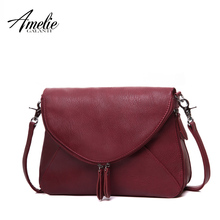AMELIE GALANTI fashion women messenger bags pachwork envelope casual shoulder bag high quality PU soft zipper solid new fashion(China)