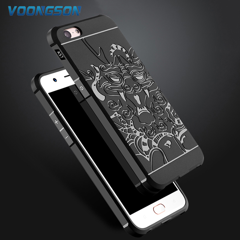 "VOONGSON Oppo A57 Case 5.2"" Rubber Soft Silicone High Shockproof 3D Dragon Back Cover Heavry Duty Armor Phone Bags"
