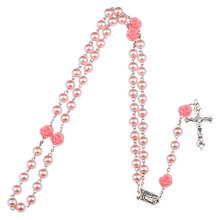 Fashion Rosary Round Beads Red Flower Catholic Rosary Necklace Women Glass Bead Crucifix Necklaces Religious Jewelry jewelry(China)