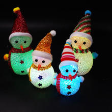 Colorful Flash Christmas Snowman Snowflake Santa Claus LED Night Lights with Hang Rope Gift Holiday Decorations(China)
