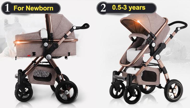 Luxury European Rose Gold Frame Baby Stroller Higher Landscape  Golden baby  3 in 1 Portable Folding Stroller  Carriage