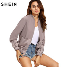 SHEIN Womens Autumn Casual Jackets Ladies Color Block Pocket Zipper Front Stand Collar Long Sleeve Basic Jacket Coat Outwear(China)