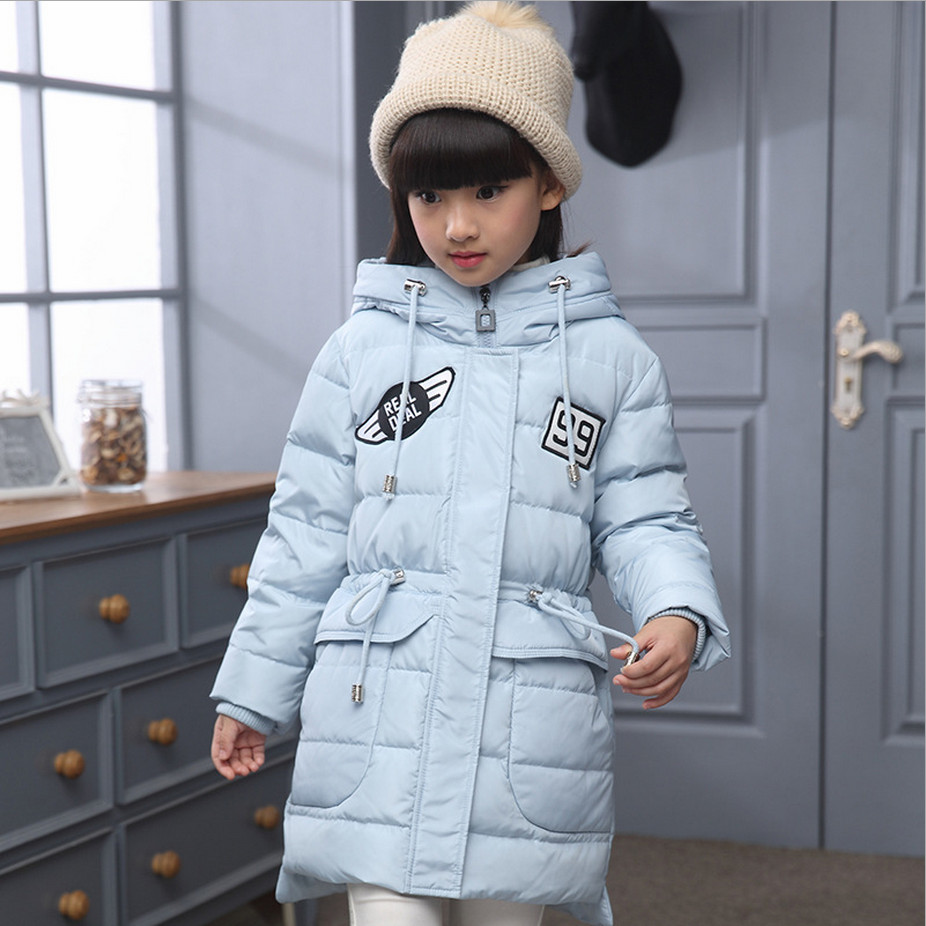 2017 Childrens Girl Long Down Jacket Winter Outerwears Coats Fashion Letters Hooded Girls Overcoat Size 120-140 High Quality Одежда и ак�е��уары<br><br><br>Aliexpress