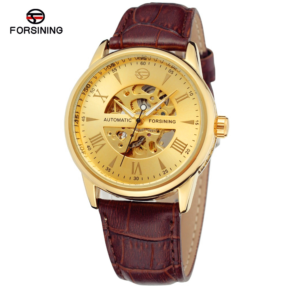 Fashion FORSINING Men Luxury Gold Skeleton Leather Self Wind Watch Automatic Mechanical Wristwatches Gift Box Relogio Releges<br><br>Aliexpress