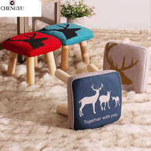 17 Styles Shoe Stool Solid Wood Fabric Creative Children Small Chair Sofa Round Stool Small Wooden Bench 30*30*27CM /32*32*27CM(China)