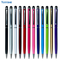 Wholesale 100pcs/lot Cheapest Metal Touch Pen 2 in1 Stylus With ball Pen For iPhone ipad iPod Mobile Phone Free DHL(China)