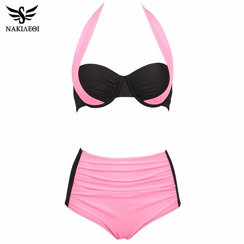 NAKIAEOI 19 New Sexy Bikinis Women Swimsuit High Waisted Bathing Suits Swim Halter Push Up Bikini Set Plus Size Swimwear 4XL 29