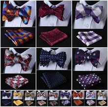 Check Polka Dot Silk Jacquard Woven Men Butterfly Self Bow Tie BowTie Pocket Square Handkerchief Hanky Suit Set G5(China)