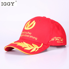 IGGY snapack black baseball cap men women hats formula 1 caps Michael Schumacher Cap Racing Mens Hat Wheat Embroidery