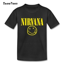 Nirvana Kurt Cobain Smiley Face Boy Girl T Shirt Cotton O Neck Rock N Tshirt children's Tee-shirt Roll Star T-shirt For Toddler