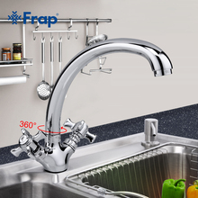 Frap 1 Set High Quality Zinc alloy Solid Kitchen Faucet Double Handle Torneira Cold and Hot Water Mixer 360 Rotating F4224(China)