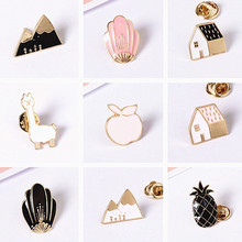 Timlee X177 Cartoon Cute Animal House Montain Fox Design Metal Brooches Pins Buttton Pin Wholesale