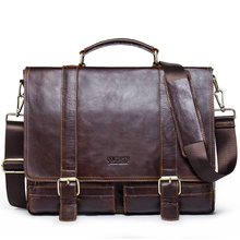 CONTACT'S 2017 Men Retro Briefcase Business Shoulder Bag Leather Handbag Bag Computer Laptop Messenger Bags Men's Travel Bags(China)